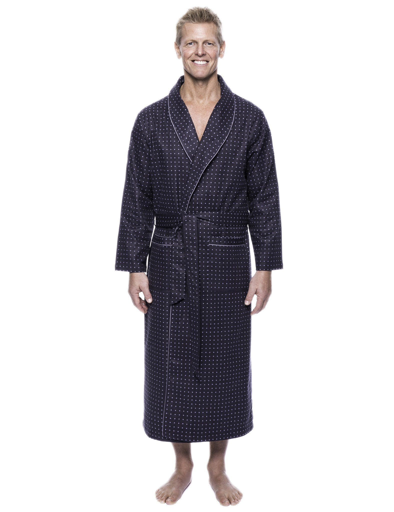Men's 100% Cotton Flannel Long Robe - Floating Squares Dark Grey