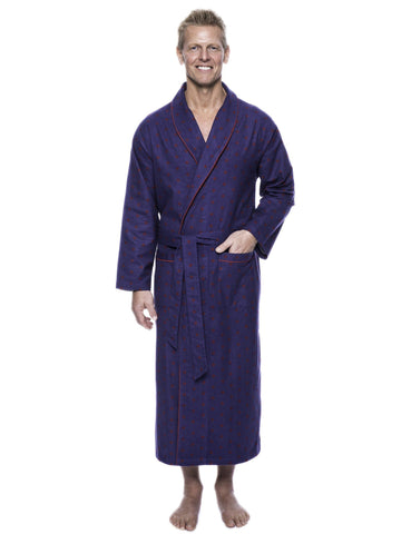 Men's 100% Cotton Flannel Long Robe - Double Diamond Navy/Red