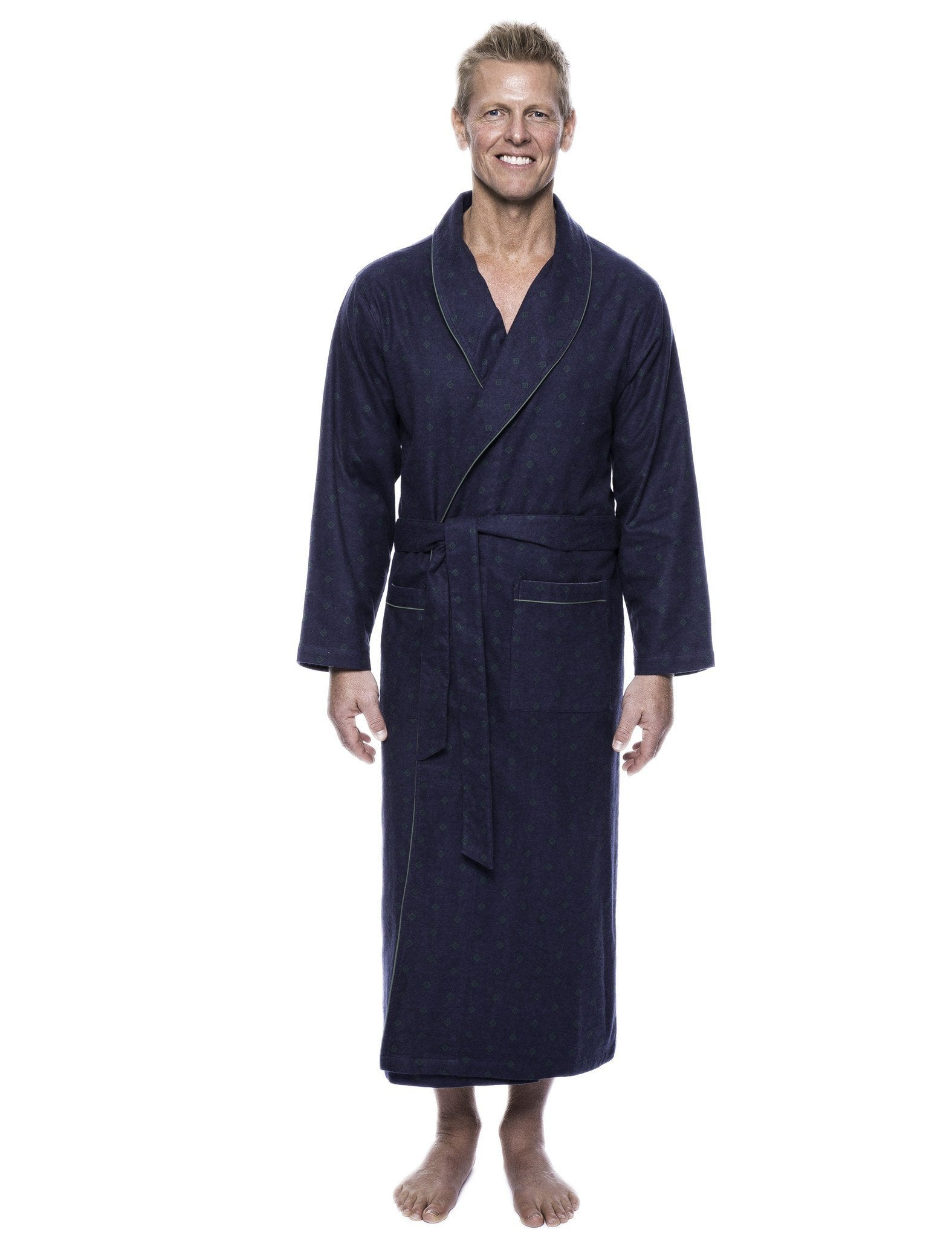 Men's 100% Cotton Flannel Long Robe - Double Diamond Navy/Green