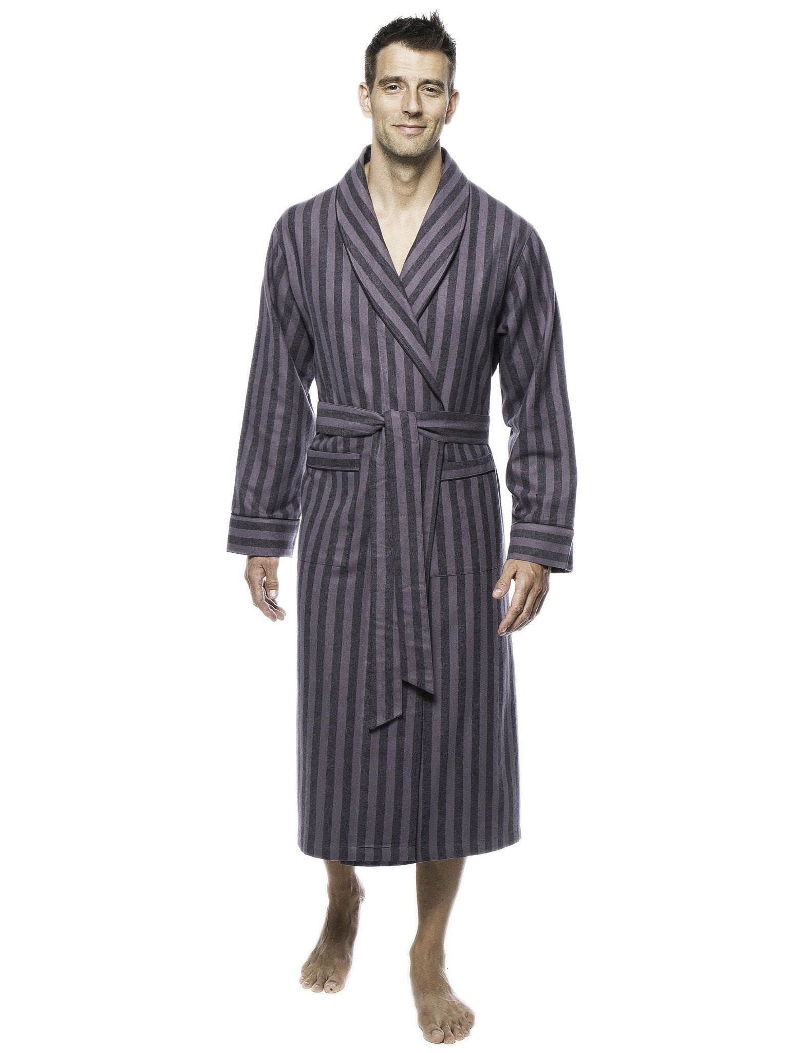 Mens Premium 100% Cotton Flannel Robe - Stripes Black/Grey