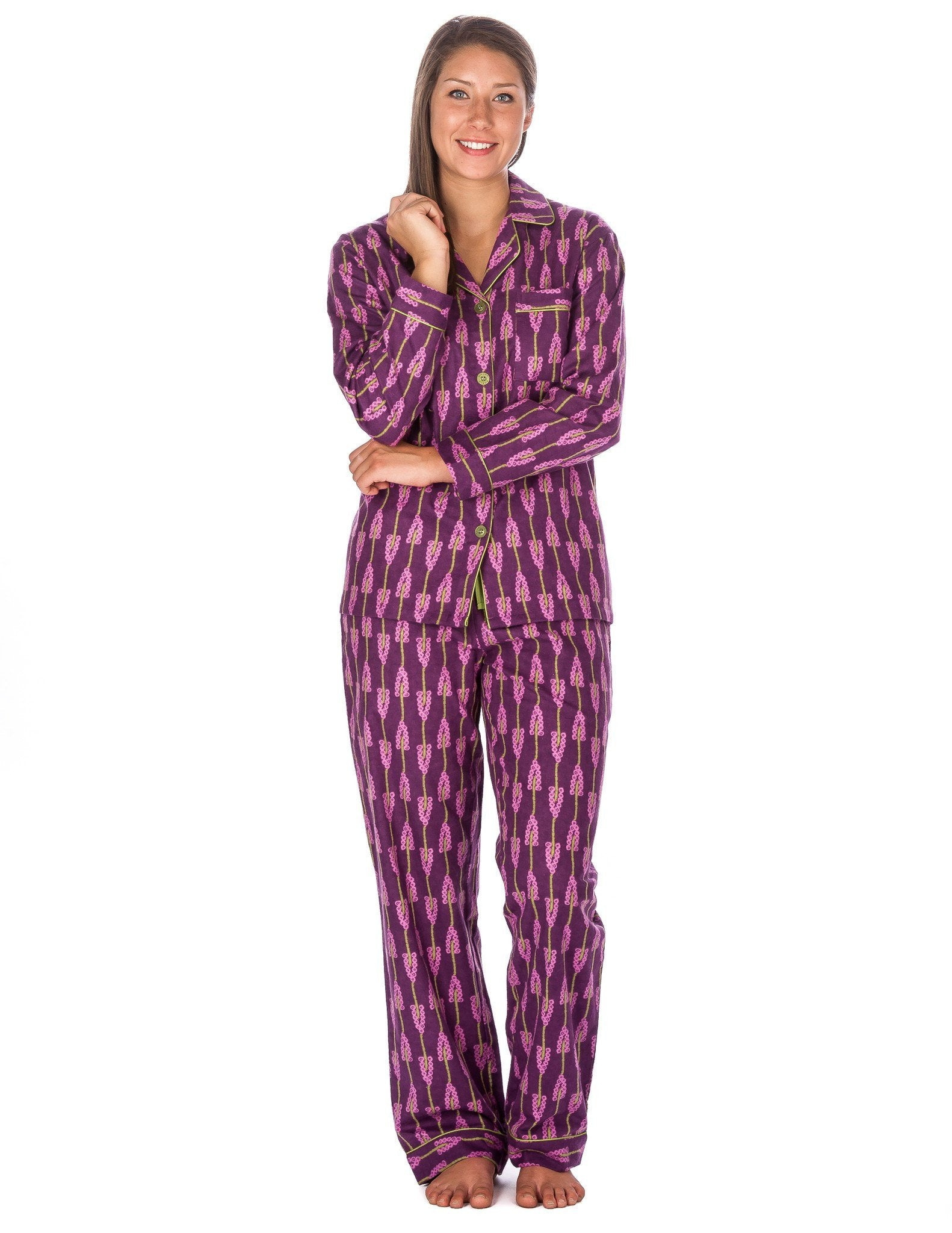 Women's Premium 100% Cotton Flannel Pajama Sleepwear Set (Relaxed Fit) - Grape Vines - Purple