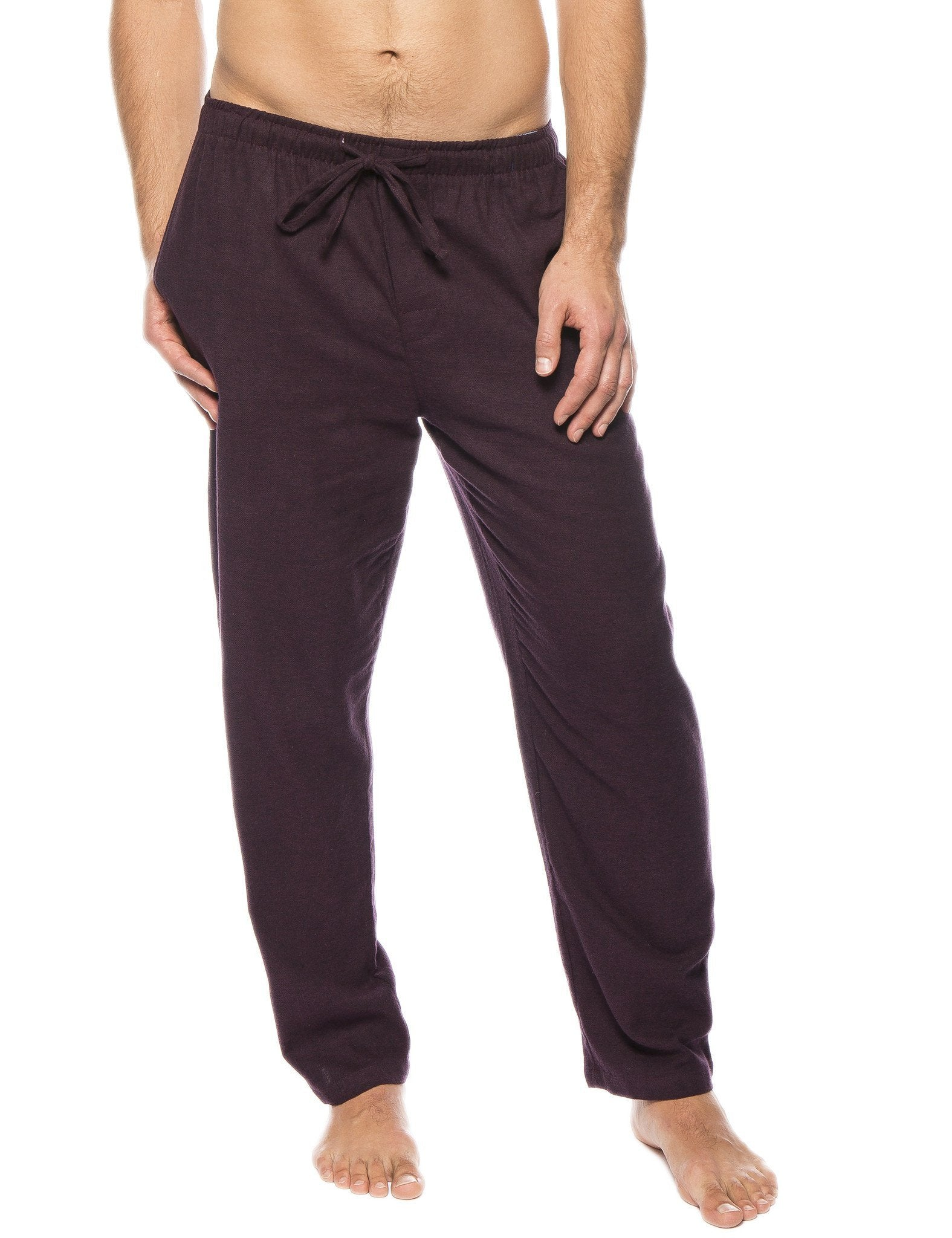 Men's 100% Cotton Flannel Lounge Pants - Herringbone Fig/Black