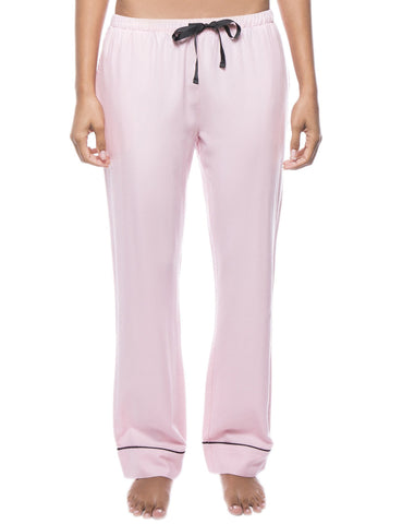 Womens 100% Cotton Flannel Lounge Pants - Herringbone Pink