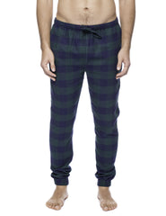 Mens 100% Cotton Flannel Jogger Lounge Pants - Gingham Green/Navy