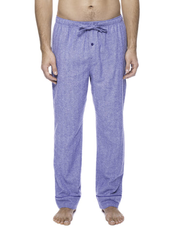 Mens Gingham 100% Cotton Flannel Lounge Pants - Herringbone Blue