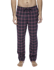 Mens Gingham 100% Cotton Flannel Lounge Pants - Plaid Navy/Black