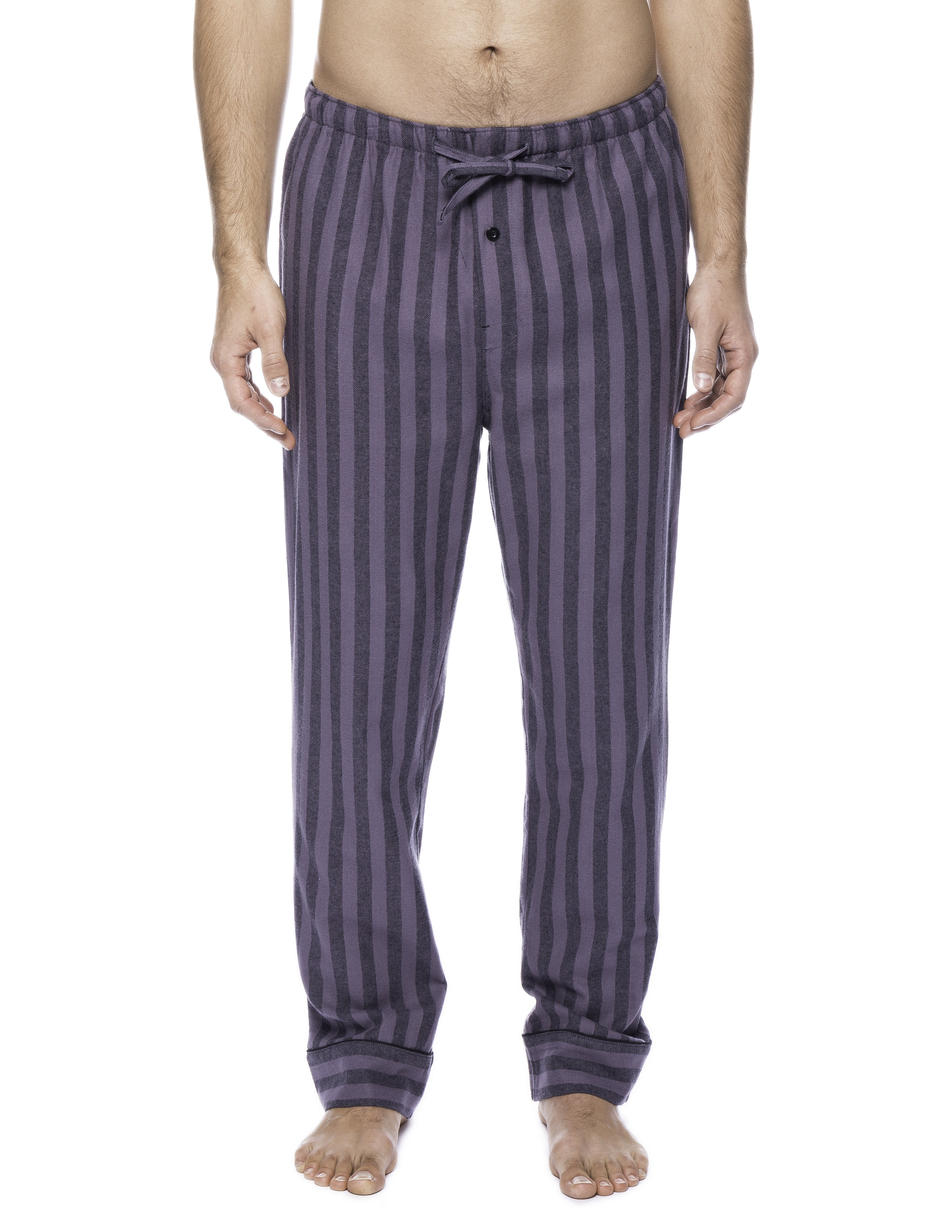 Mens Gingham 100% Cotton Flannel Lounge Pants - Stripes Black/Grey
