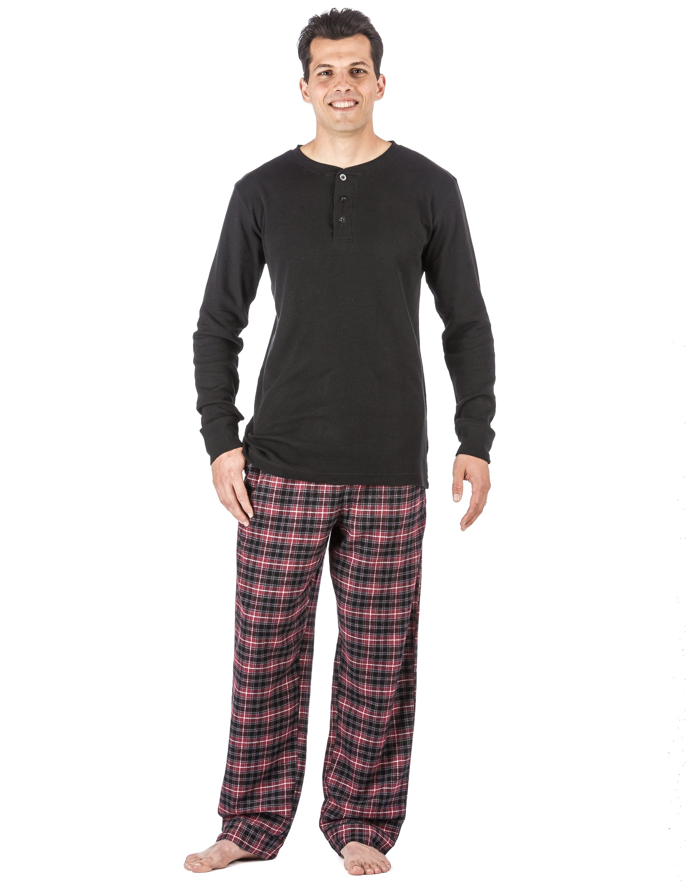 Mens Premium 100% Cotton Flannel Lounge Set - Plaid Burgundy/Grey