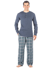 Mens Premium 100% Cotton Flannel Lounge Set - Plaid Blue/Aqua