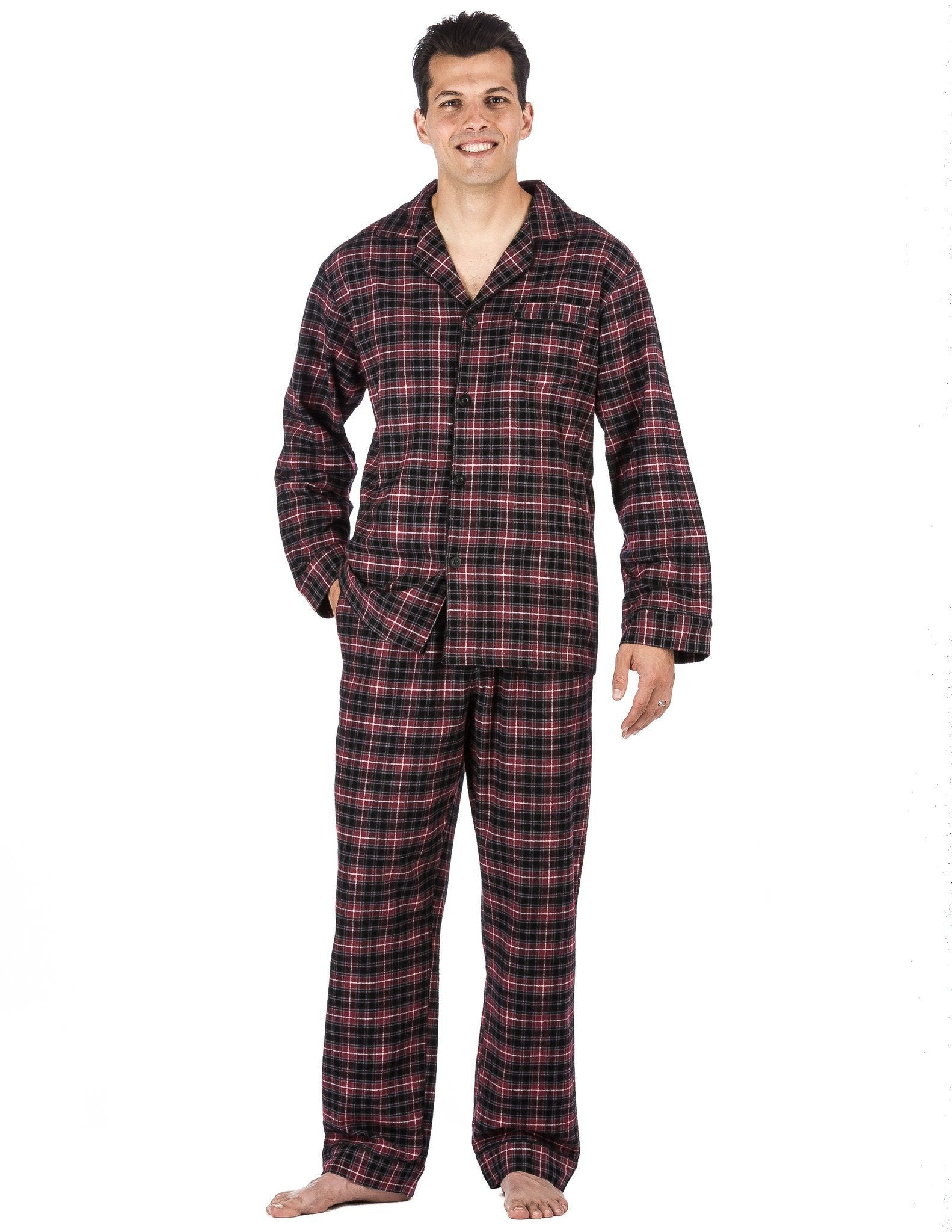 Relaxed Fit Men's Premium 100% Cotton Flannel Pajama Sleepwear Set - Burgundy/Grey Plaid