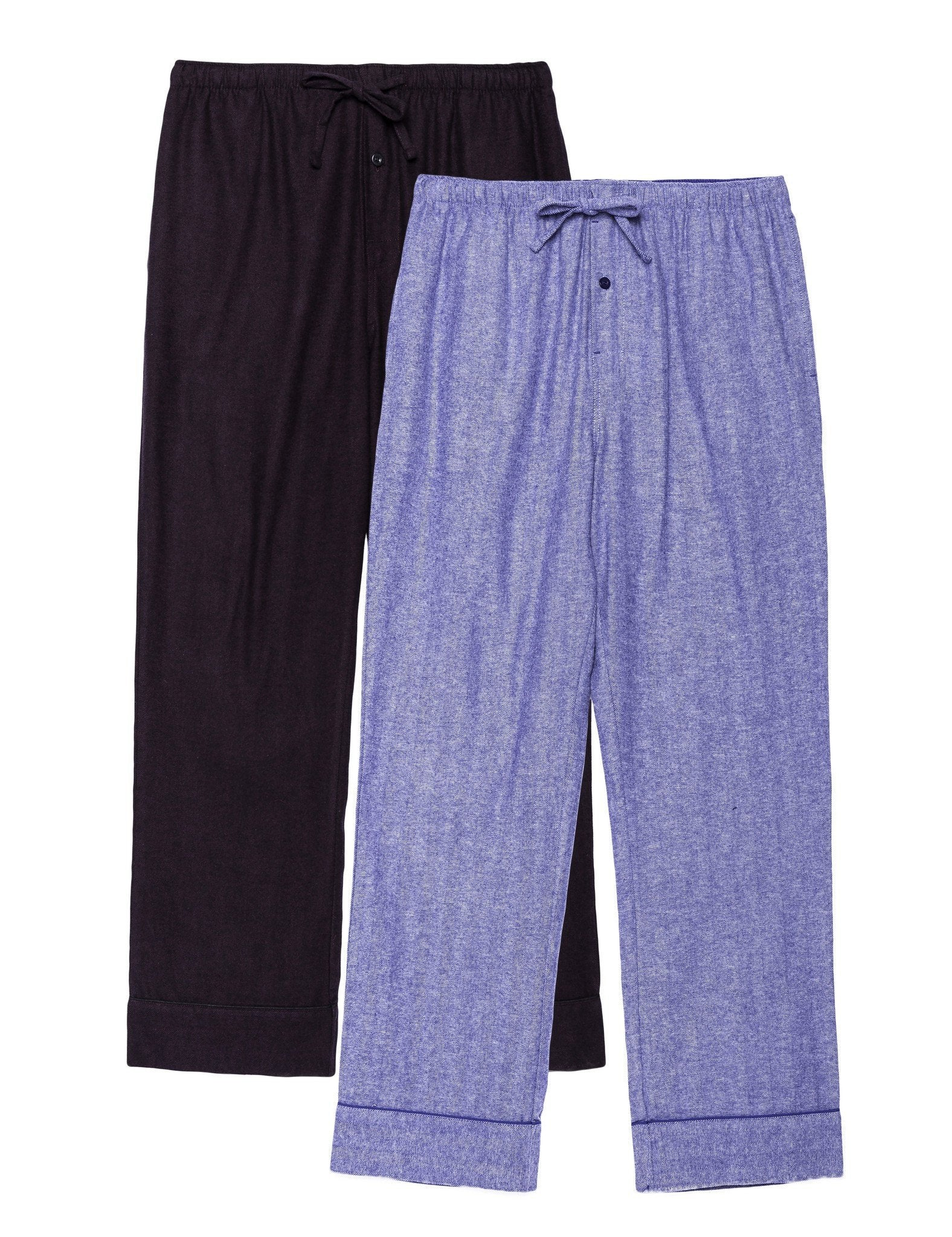 2-Pack Men's 100% Cotton Flannel Lounge Pants (Herringbone Blue/Fig-Black)