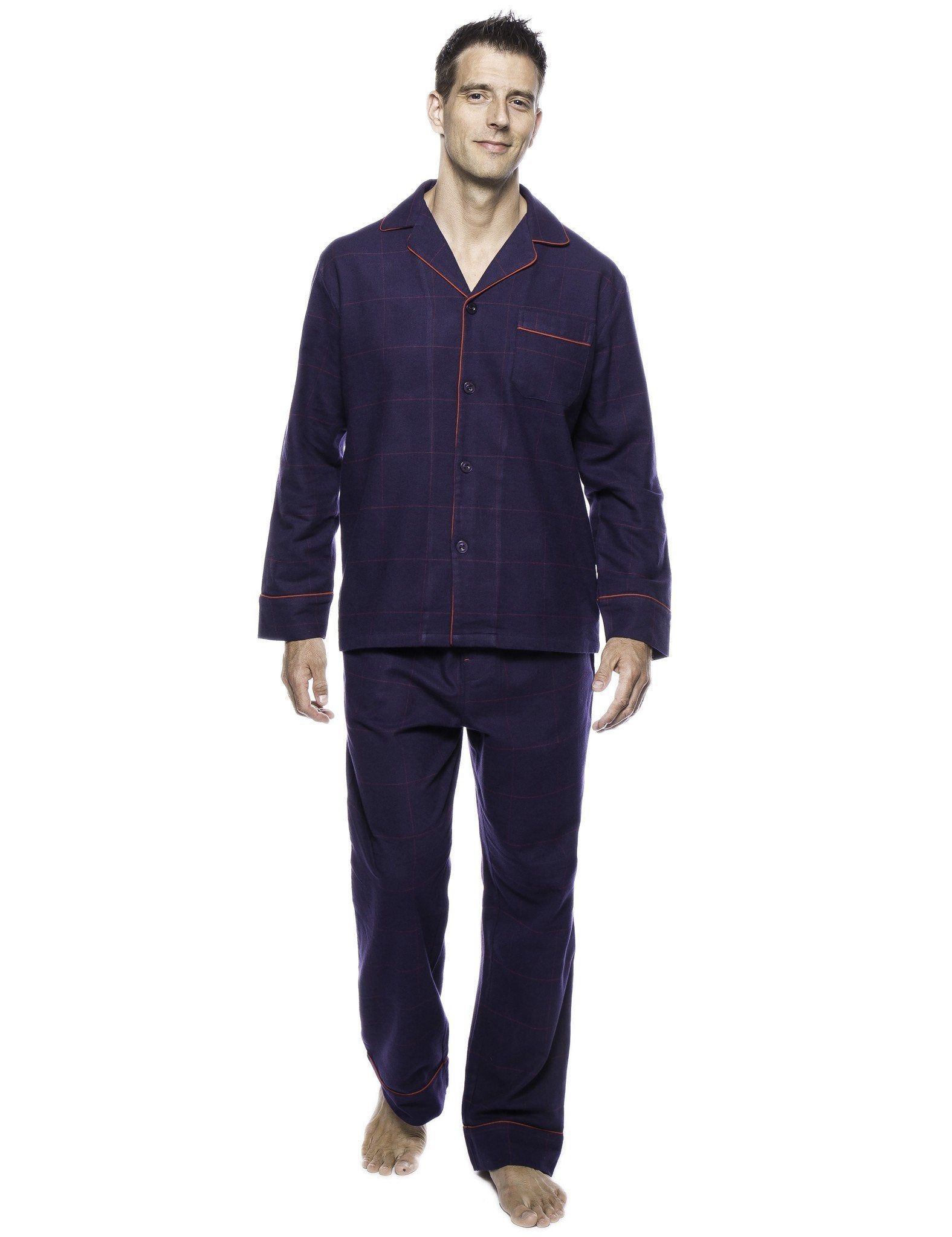 Box Packaged Men's Premium 100% Cotton Flannel Pajama Sleepwear Set - Windowpane Checks Blue/Red