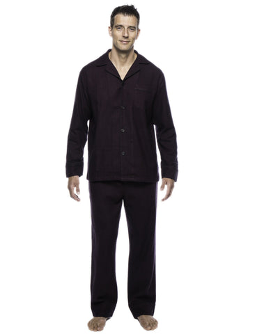 Box Packaged Men's Premium 100% Cotton Flannel Pajama Sleepwear Set - Herringbone Fig/Black