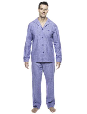 Box Packaged Men's Premium 100% Cotton Flannel Pajama Sleepwear Set - Herringbone Blue