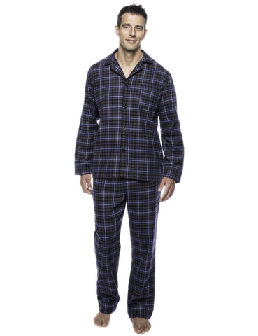 Box Packaged Men's Premium 100% Cotton Flannel Pajama Sleepwear Set - Plaid Navy/Black