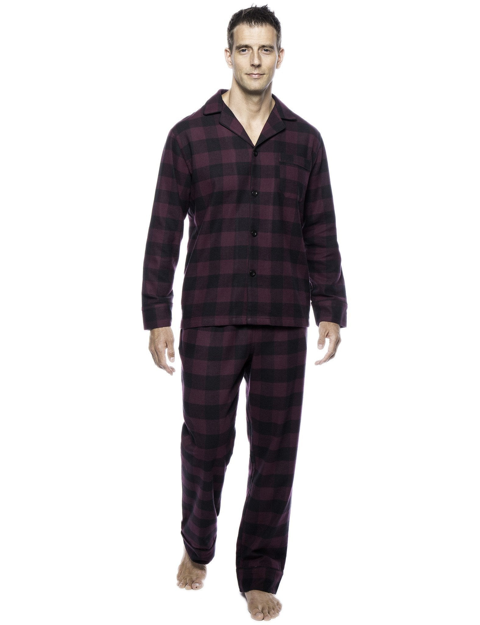Box Packaged Men's Premium 100% Cotton Flannel Pajama Sleepwear Set - Gingham Fig/Black