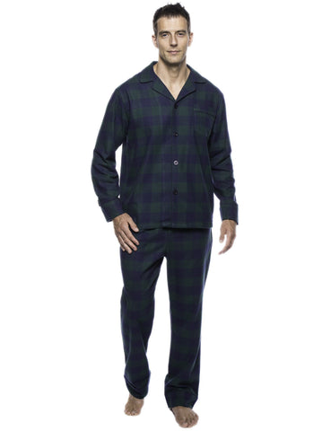 Box Packaged Men's Premium 100% Cotton Flannel Pajama Sleepwear Set - Gingham Green/Navy