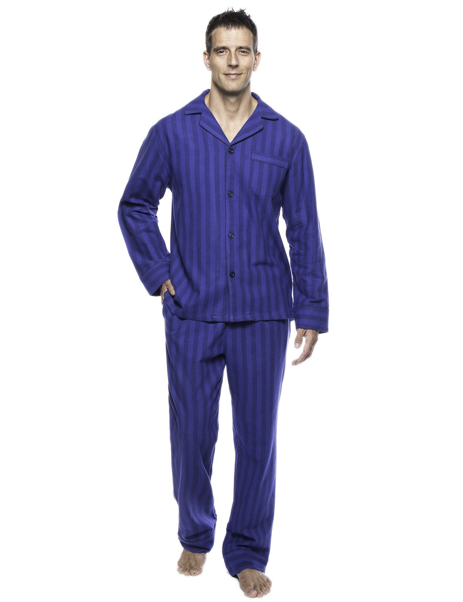 Box Packaged Men's Premium 100% Cotton Flannel Pajama Sleepwear Set - Stripes Tonal Blue