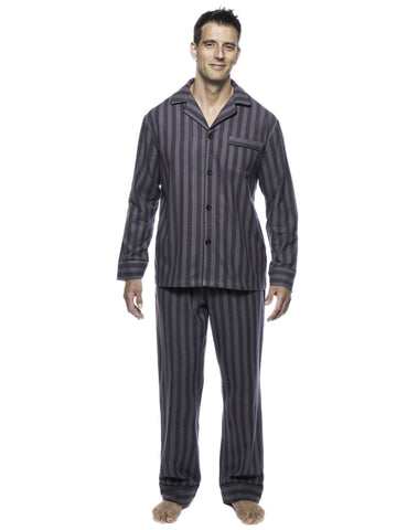 Box Packaged Men's Premium 100% Cotton Flannel Pajama Sleepwear Set - Stripes Black/Grey