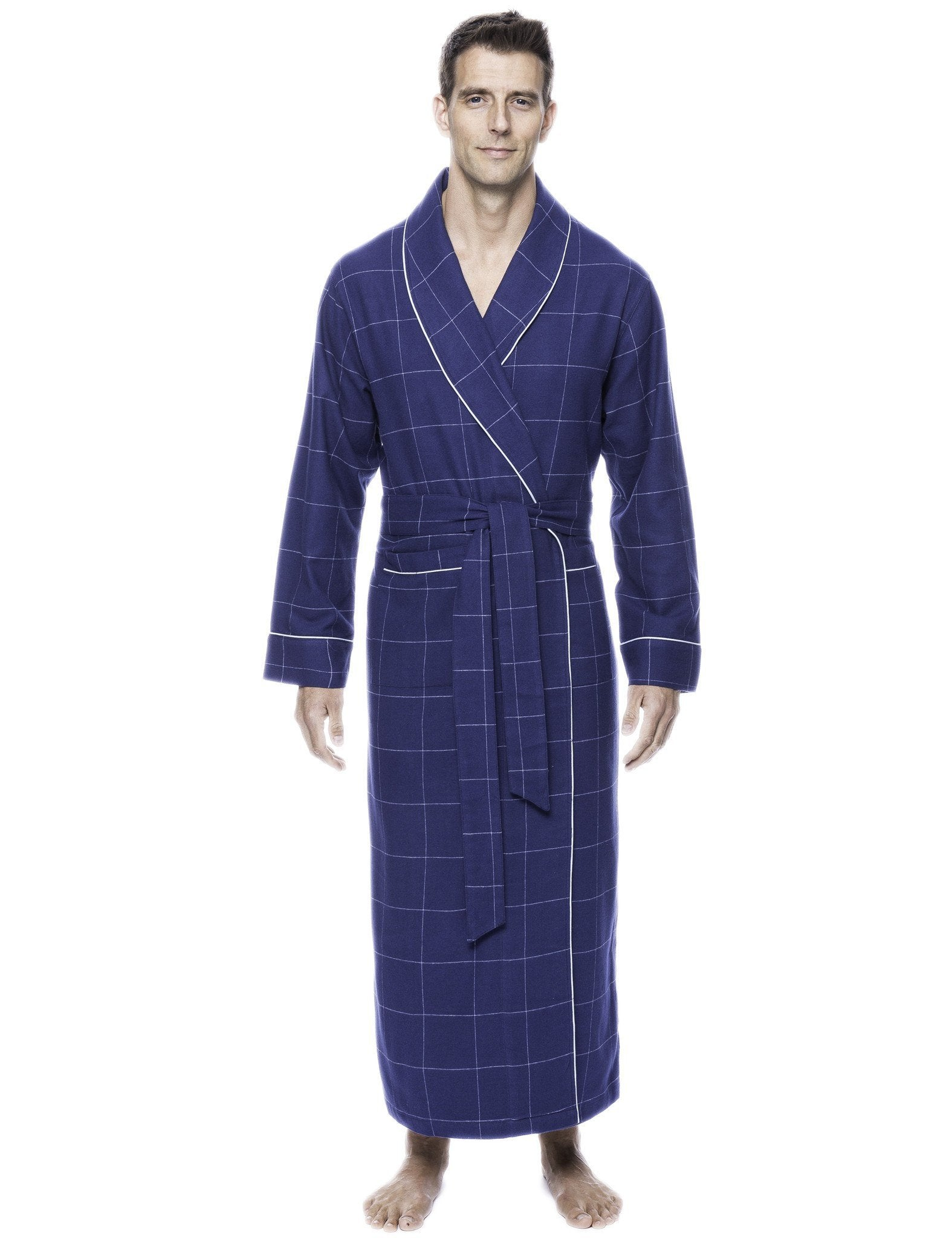 Box Packaged Men's Premium 100% Cotton Flannel Long Robe - Windowpane Checks Dark Blue