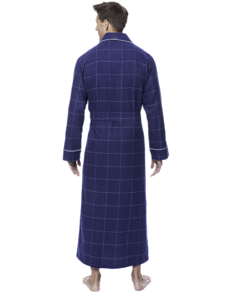 Mens Robe - 100% Cotton Flannel Robe - Windowpane Checks Dark Blue