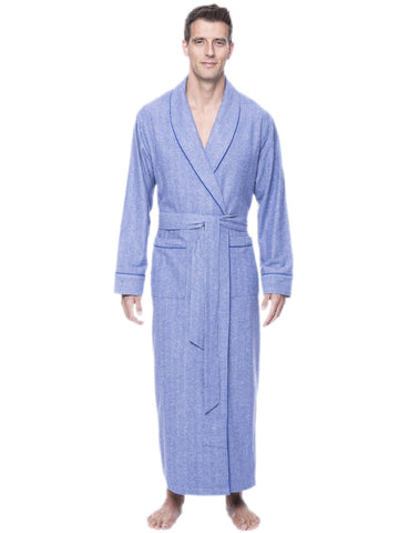 Box Packaged Men's Premium 100% Cotton Flannel Long Robe - Herringbone Blue