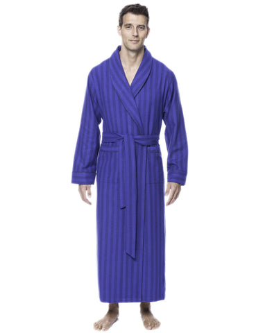 Box Packaged Men's Premium 100% Cotton Flannel Long Robe - Stripes Tonal Blue