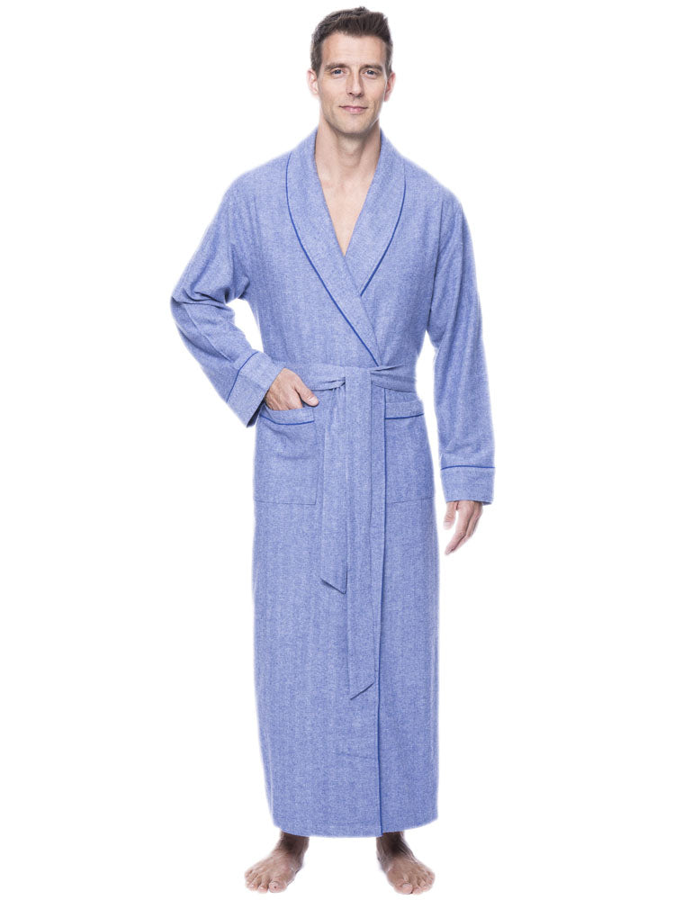 Mens Robe - 100% Cotton Flannel Robe - Herringbone Blue