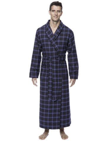 Box Packaged Men's Premium 100% Cotton Flannel Long Robe - Plaid Navy/Black