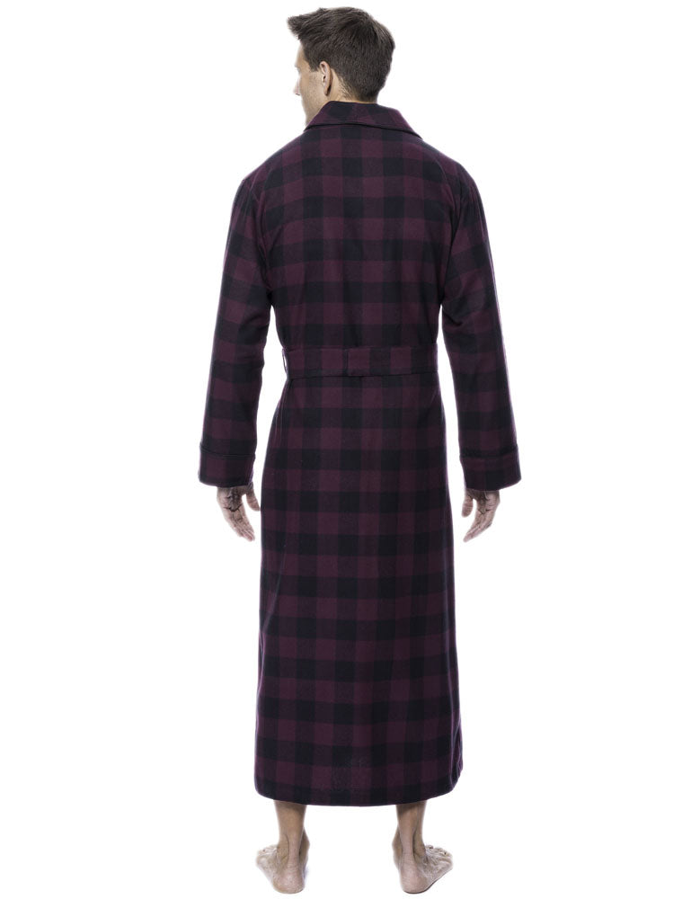 Mens Robe - 100% Cotton Flannel Robe - Gingham Fig/Black