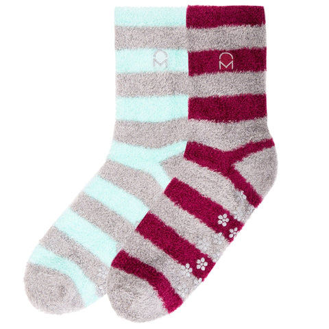 Box Packaged Women's Soft Anti-Skid Winter Feather Socks - 2-Pairs - Set C8