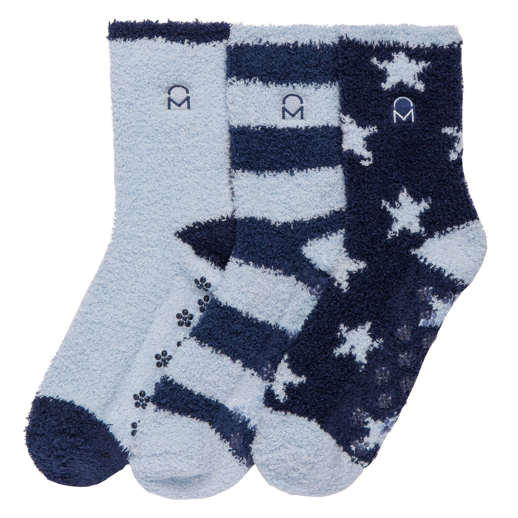 Women's (3 Pairs) Soft Anti-Skid Fuzzy Winter Crew Socks - Set B8