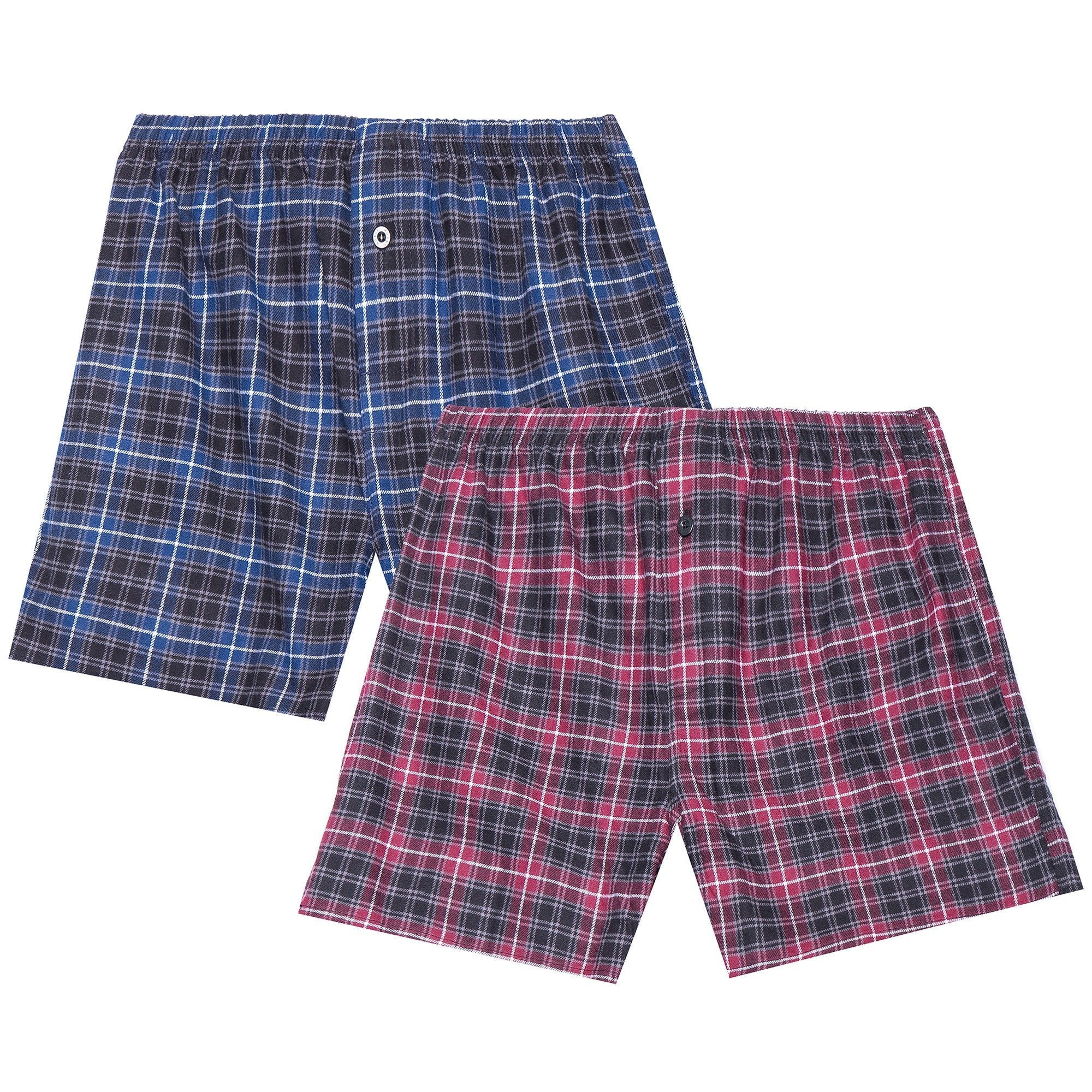 Men's 100% Cotton Flannel Boxers - 2 Pack - Plaid Burgundy-Grey/Navy-Black