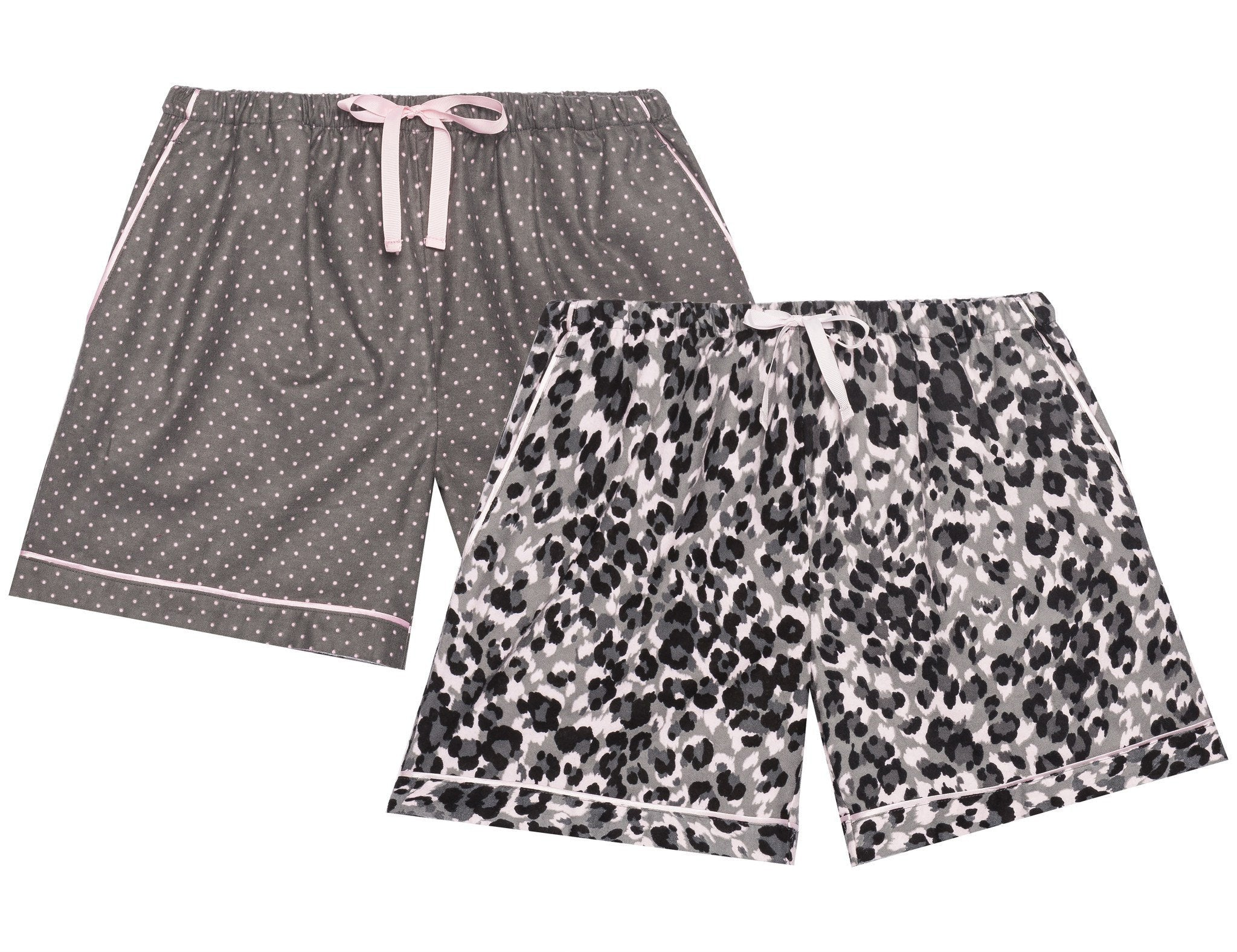 Women's Premium 100% Cotton Flannel Lounge Shorts 2-Pack - Leopard-Pin Dots Pink