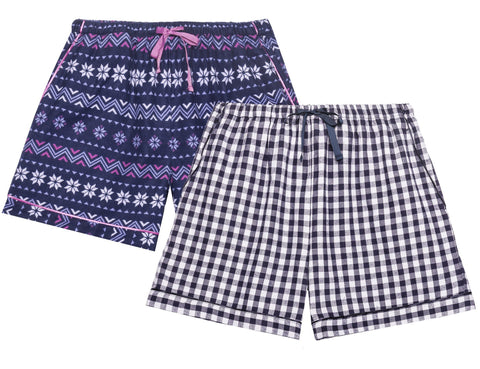 Women's Premium 100% Cotton Flannel Lounge Shorts 2-Pack - Nordic Snow-Gingham Blue