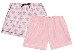 Women's Premium 100% Cotton Flannel Lounge Shorts 2-Pack - Stripe-Fleur Pink