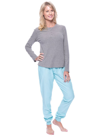 Women's Premium Flannel Jogger Lounge Set - Herringbone Aqua