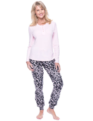 Women's Premium Flannel Jogger Lounge Set - Leopard Pink/Grey