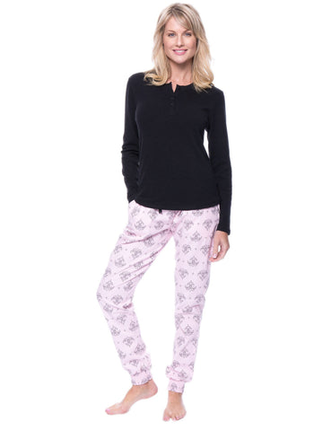 Women's Premium Flannel Jogger Lounge Set - Fleur Pink/Black