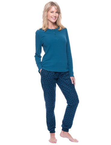 Women's Premium Flannel Jogger Lounge Set - Moroccan Navy/Teal