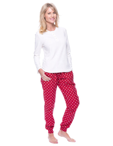 Women's Premium Flannel Jogger Lounge Set - Dots Diva Red