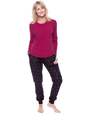 Women's Premium Flannel Jogger Lounge Set - Hearts Black/Red