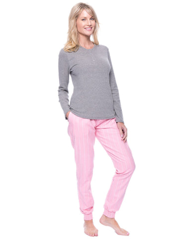Women's Premium Flannel Jogger Lounge Set - Stripes Pink