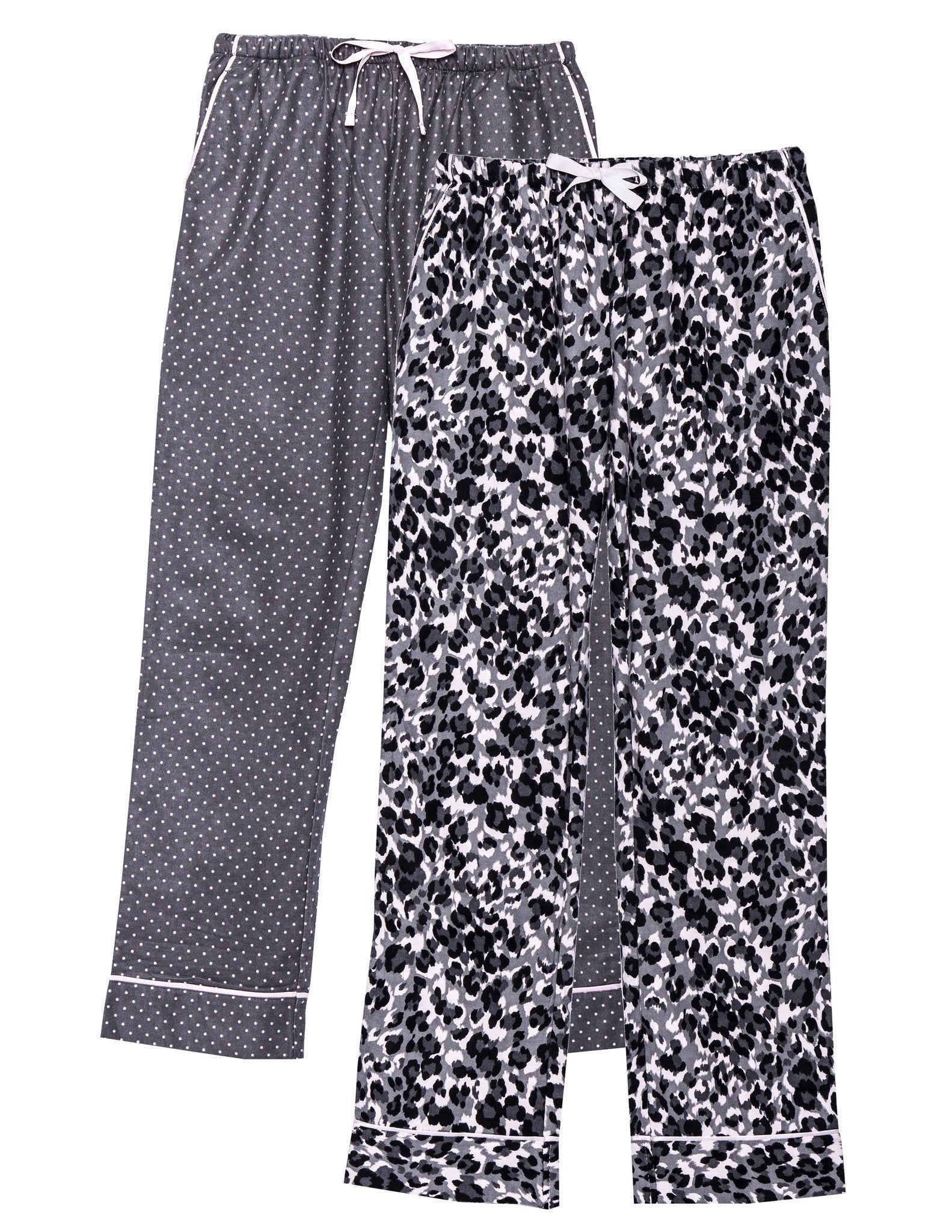 Women's 2 Pack Cotton Flannel Lounge Pants with Free Socks