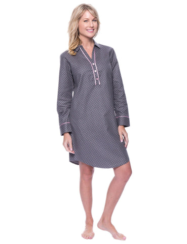 Noble Mount Womens Premium 100% Cotton Flannel Long Sleeve Sleep Shirt - Pindots Charcoal