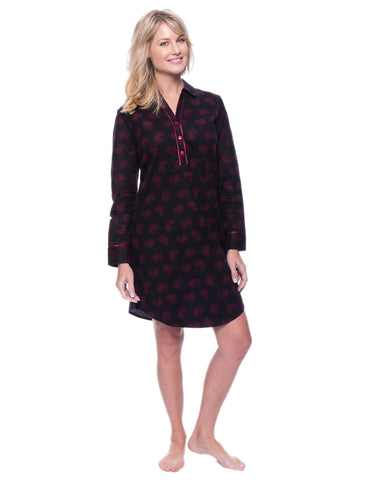 Noble Mount Womens Premium 100% Cotton Flannel Long Sleeve Sleep Shirt - Hearts Black/Red