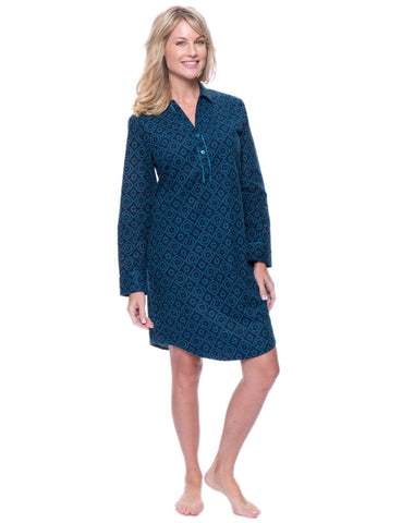 Noble Mount Womens Premium 100% Cotton Flannel Long Sleeve Sleep Shirt - Moroccan Navy/Teal