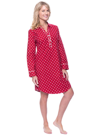 Noble Mount Womens Premium 100% Cotton Flannel Long Sleeve Sleep Shirt - Dots Diva Red