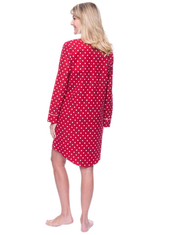 0cd3beb63f Noble Mount Womens Premium 100% Cotton Flannel Long Sleeve Sleep Shirt - Dots  Diva Red. Dots Diva Red