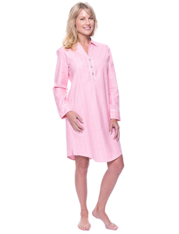 Noble Mount Womens Premium 100% Cotton Flannel Long Sleeve Sleep Shirt - Stripes Pink